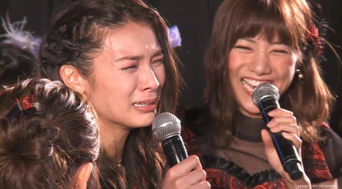"Akimoto Sayaka: ""Don't worry, I'm graduated."" Laughter ensues."