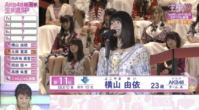 Yokoyama Yui 2016 8th Senbatsu speech (English subtitles)