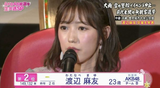 Watanabe Mayu's 2017 9th Senbastu Speech (English Subtitles)